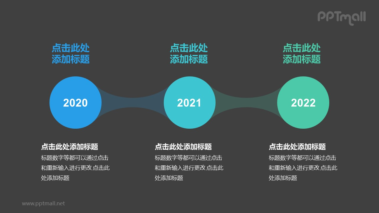 3个蓝绿色半透明圆形组成的时间轴递进关系PPT模板
