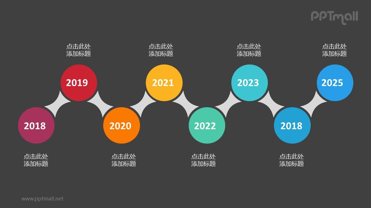 8个依次连接的彩色圆形时间轴递进关系PPT模板
