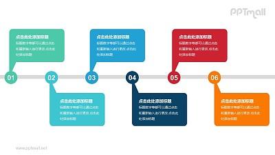6个带序号的彩色气泡框递进关系PPT模板