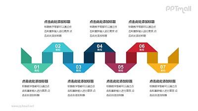 7个带序号的立体彩色折纸递进关系PPT模板