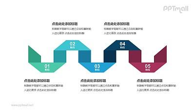 5个带序号的立体彩色折纸递进关系PPT模板