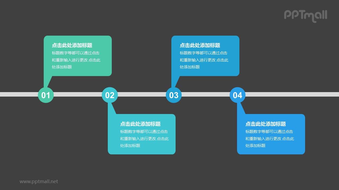 4个带序号的彩色气泡框递进关系PPT模板