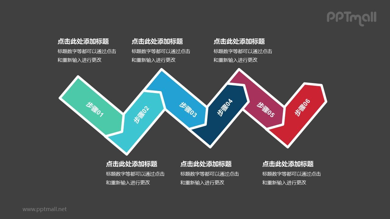 6个依次连接的彩色箭头递进关系PPT模板
