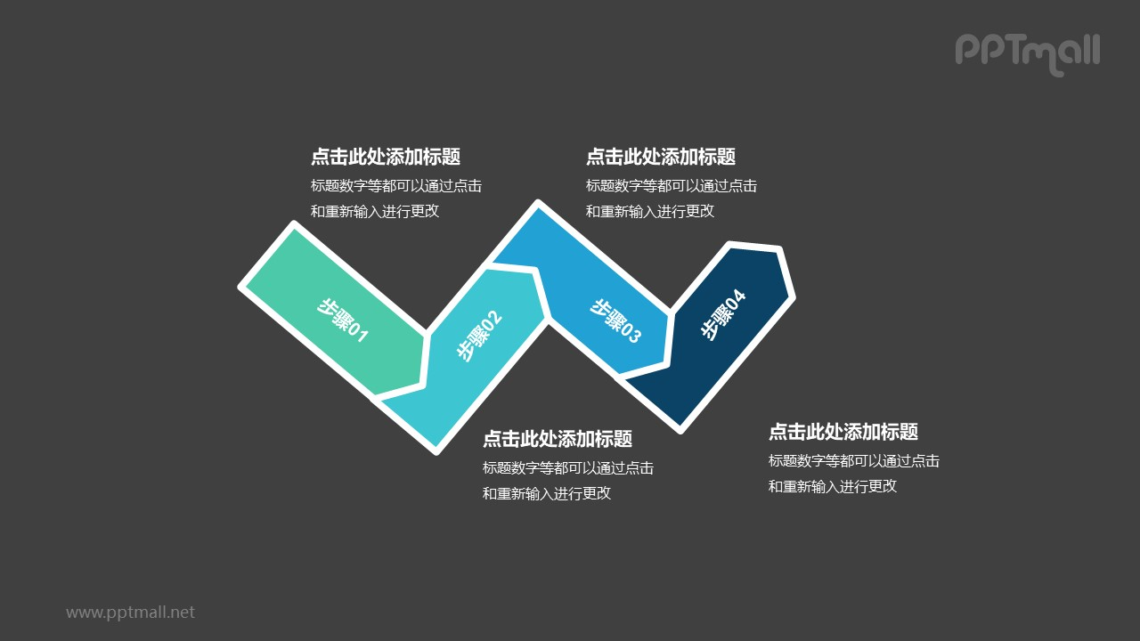4个依次连接的彩色箭头递进关系PPT模板