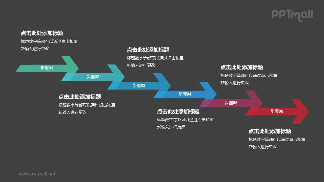 6个依次连接的半透明彩色箭头递进关系PPT模板