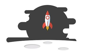 简约图标火箭发射升空PPT动画模板素材下载