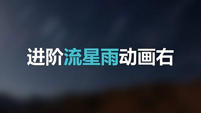 蓝色星空流星从右上方进入标题下方光点左侧进入PPT动画模板素材下载