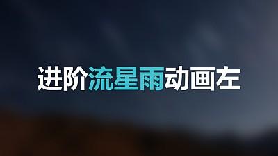 蓝色星空流星从左上方进入标题下方光点左侧进入PPT动画模板素材下载