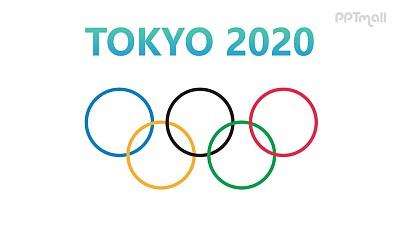 片头动画2020东京奥运会奥运五环PPT动画模板素材下载