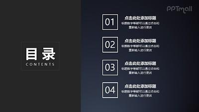 目录页4个带序号的文本框依次由右侧进入PPT动画模板素材下载