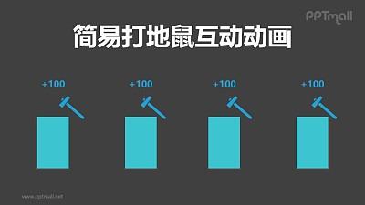 简易打地鼠互动游戏PPT动画模板素材下载