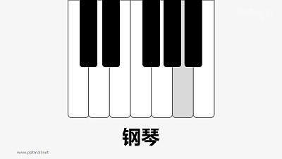 弹钢琴律动的音符PPT动画模板素材下载