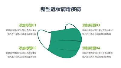 矢量医用绿色口罩COVID-19新型冠状病毒PPT图示素材下载