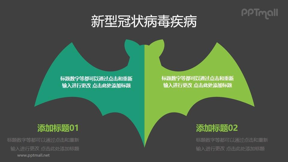 双色蝙蝠矢量图COVID-19新型冠状病毒PPT图示素材下载