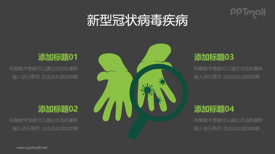 勤洗手防止COVID-19新型冠状病毒PPT图示素材下载