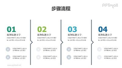 4部分带递进箭头的多文字时间轴PPT素材模板