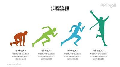 运动员起跑PPT图示素材模板(4部分递进关系)下载