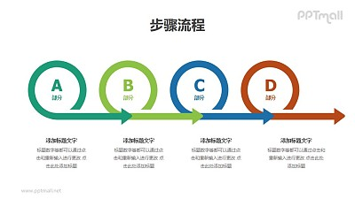 4个带箭头的圆圈递进关系图示PPT素材模板下载