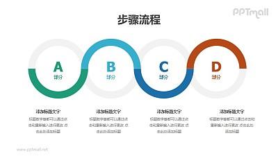 4个彩色圆圈并列/递进关系PPT图示素材