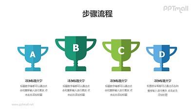 四个并排的比赛奖杯(并列关系)PPT图示素材下载