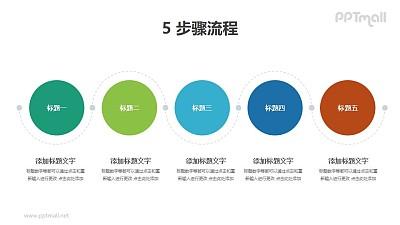 5个用虚线连接起来的圆形并列/递进关系PPT图示素材下载