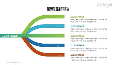 树枝分叉的时间轴PPT图示素材模板