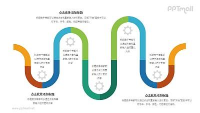 5部分波浪形(首尾相接)多彩色时间轴PPT素材模板下载