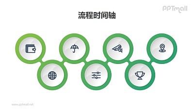 7个上下起伏的时间轴PPT图示素材模板
