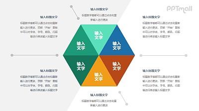 六边形要点分析图PPT素材下载